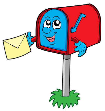 mail box: Mail box with letter - vector illustration.
