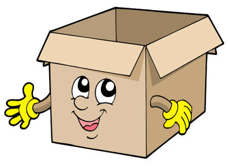 storage boxes: Open cute cardboard box - vector illustration.