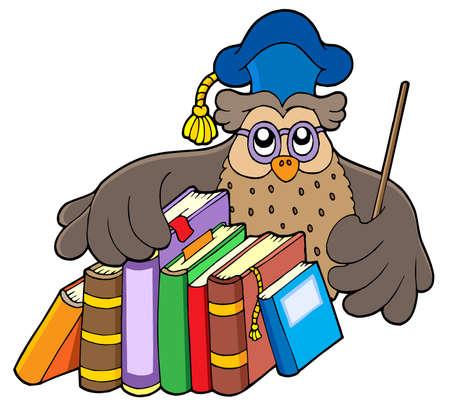 old people reading: Owl teacher holding books - vector illustration.