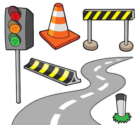 Varios objetos de carretera - ilustración vectorial.