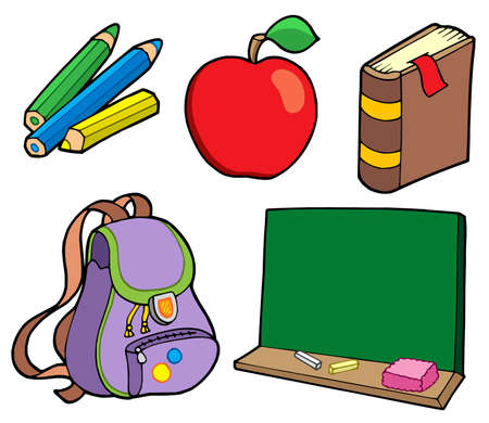 case studies: Various school items - vector illustration.
