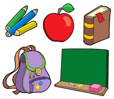 book case: Various school items - vector illustration.