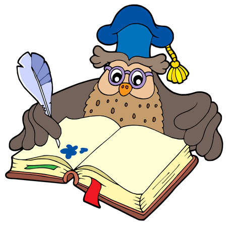 scholarship: Writing owl teacher - vector illustration.