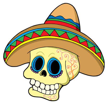 Mexican skull in sombrero - vector illustration. Stock Vector - 3952987