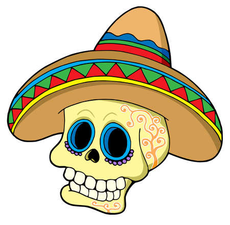 Mexican skull in sombrero - vector illustration.