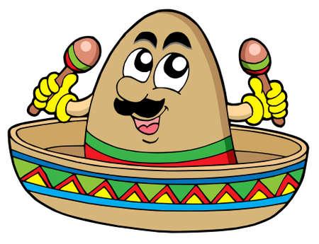 mexican sombrero: Sombrero messicano su sfondo bianco - illustrazione vettoriale.