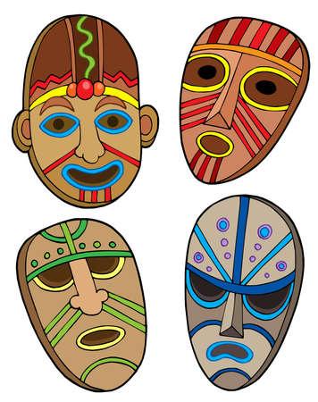 carve: Colecci�n de m�scaras tribales - ilustraci�n vectorial.