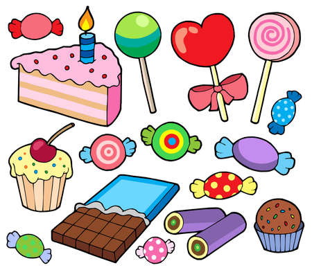 confection: Candy and cakes collection - vector illustration.