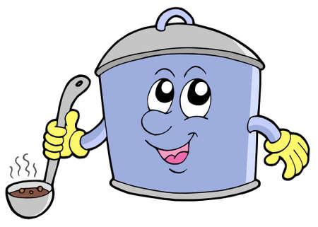 Cartoon cooker pot - vector illustration. Vector