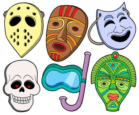 aborigine: Varias m�scaras de recogida 1 - ilustraci�n vectorial.
