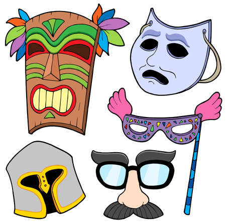 tiki party: Various masks collection 2 - vector illustration. Illustration