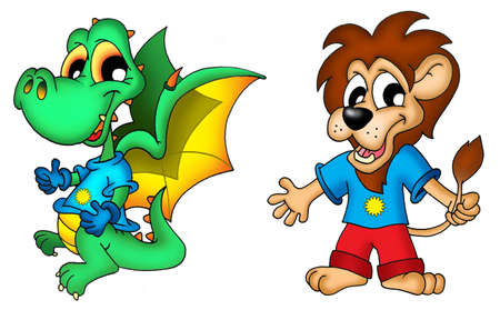 green dragon: Cartoon dragon and lion - color illustration.