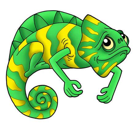 Green chameleon on white background - color illustration. illustration