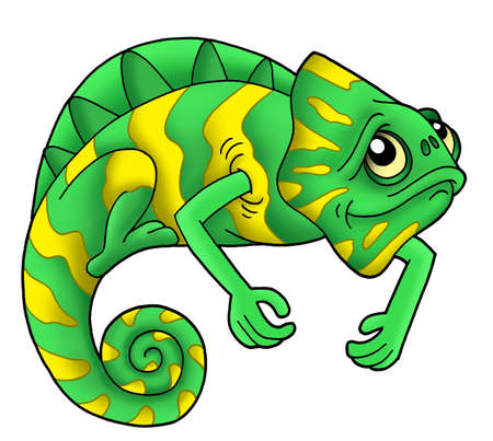 Green chameleon on white background - color illustration. illustration