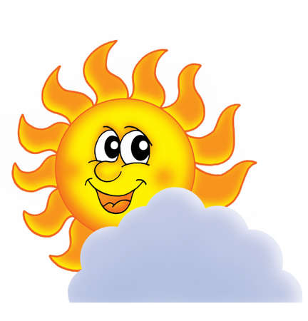 Sun on cloud - color illustration. illustration