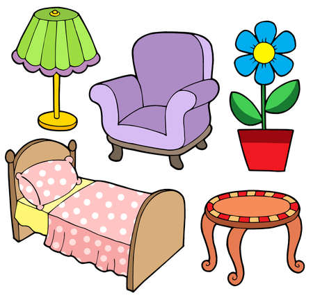 ladenkast: Furniture collection 1 op witte achtergrond - vector illustration. Stock Illustratie