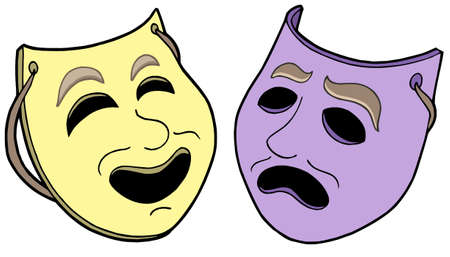 fake smile: Pair of theatre masks - vector illustration.