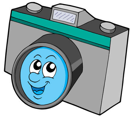 pic  picture: Cute camera with smiling face - vector illustration. Illustration
