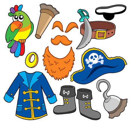 corsair: Pirate clothes collection - vector illustration.