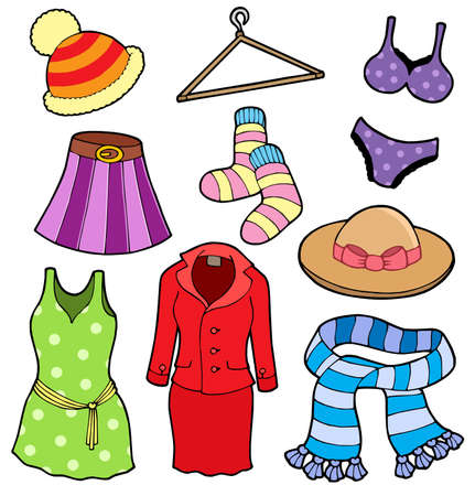Vrouw kleding collectie - vector illustation. Vector Illustratie