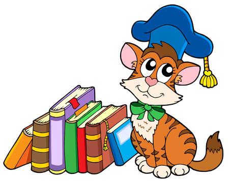 scholar: Cat teacher with books - vector illustration. Illustration