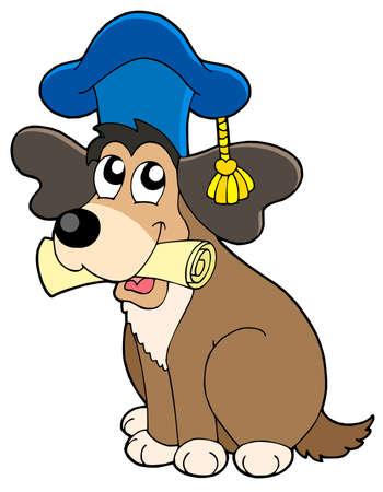 graduacion caricatura: Perro en el sombrero de docente - ilustraci�n vectorial. Vectores