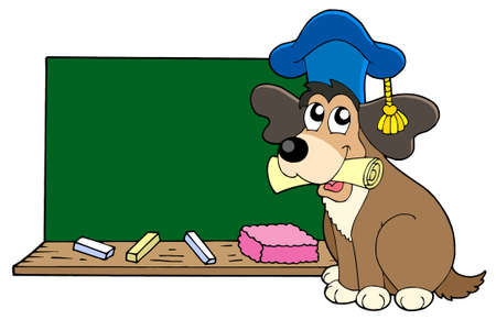 guide dog: Dog teacher with blackboard - vector illustration. Illustration