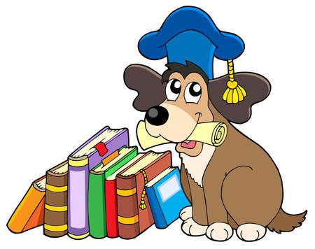 문학의: Dog teacher with books - vector illustration.