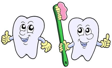 Pair of cartoon teeth - vector illustration. Stock Vector - 4012143