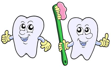 Pair of cartoon teeth - vector illustration.