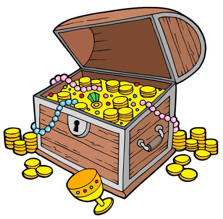 Open treasure chest - vector illustration.