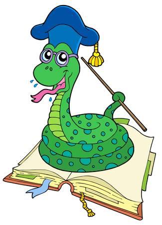 serpiente caricatura: Serpiente de maestros en el libro abierto - ilustraci�n vectorial.