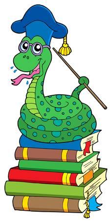 Snake teacher on pile of books - vector illustration. Vector