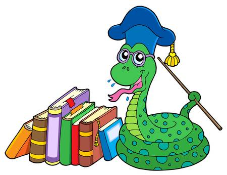 Snake teacher with books - vector illustration. Vector