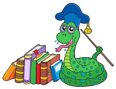 Snake teacher with books - vector illustration. Illustration
