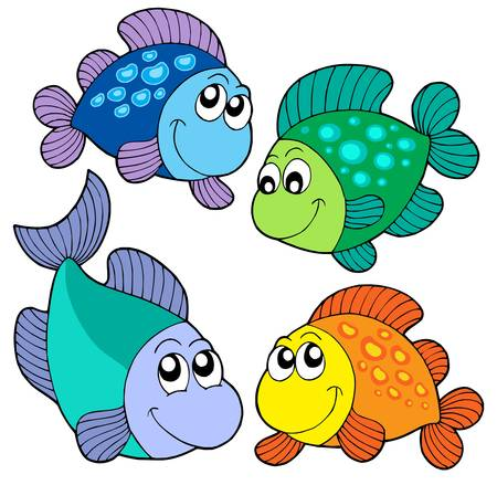 fish scales: Cute fishes set - vector illustration.