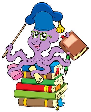 scholars: Pulpo profesor en la pila de libros - ilustraci�n vectorial.