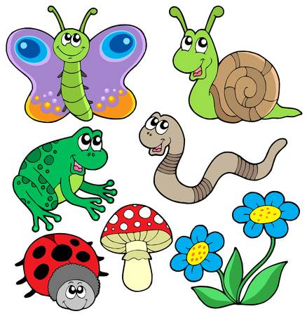 lombriz: Recogida de animales peque�os 2 - ilustraci�n vectorial.
