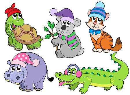 Animals in winter clothes collection 1 - vector illustration.