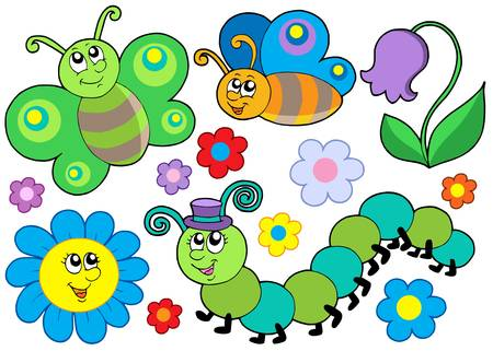 Bug and flower set - vector illustration. Illustration