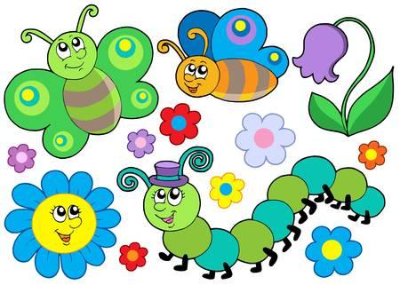 gusanos: Error y flor conjunto - ilustraci�n vectorial. Vectores