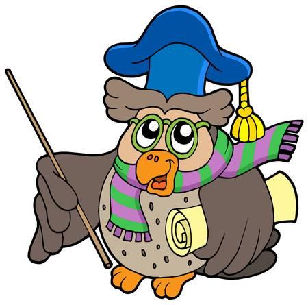 libro de cuentos: Owl maestro con pergamino - ilustraci�n vectorial.
