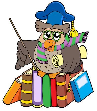 libro de cuentos: Owl maestro con pergamino y libros - ilustraci�n vectorial.