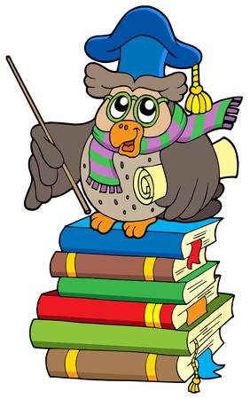 Owl teacher with parchment on books - vector illustration. Vector