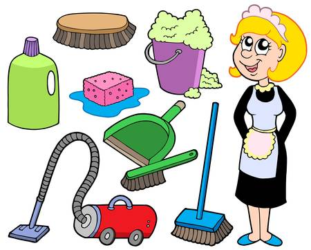 vacuuming: Cleaning collection 1 - vector illustration. Illustration