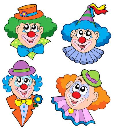 Clowns head collection - vector illustration. Vector
