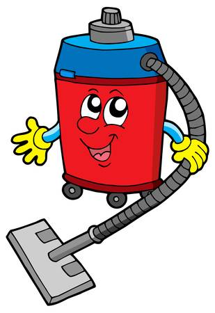 keep clean: Cute vacuum cleaner - vector illustration.