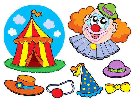Circus clown collection - vector illustration.