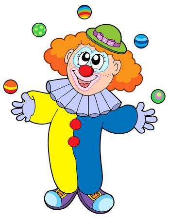 juggling: Malabares clown historieta - ilustraci�n vectorial.