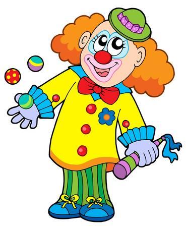 Smiling cartoon clown - vector illustration. Stock Vector - 4016216